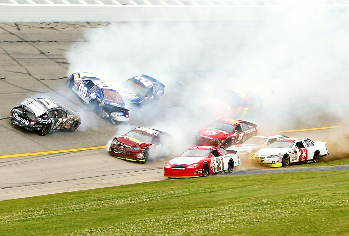 "The ""Big One"" came on lap 84 when Tony Stewart tapped the rear of Kurt Busch's car near the bottom of the banked track, sending Busch sliding sideways up the banking right in front of a huge pack of cars. Before the crashing and spinning was through, 10 cars were scattered around the fourth turn. The cars driven by Busch, Derrike Cope and Kenny Wallace had to be hauled off on flatbed trucks. There were no injuries."