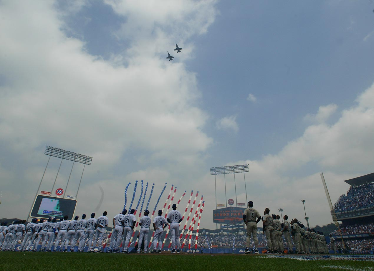 An Opening Day flyover at the Los Angeles Coliseum before a Dodgers-Padres game in April 2004.