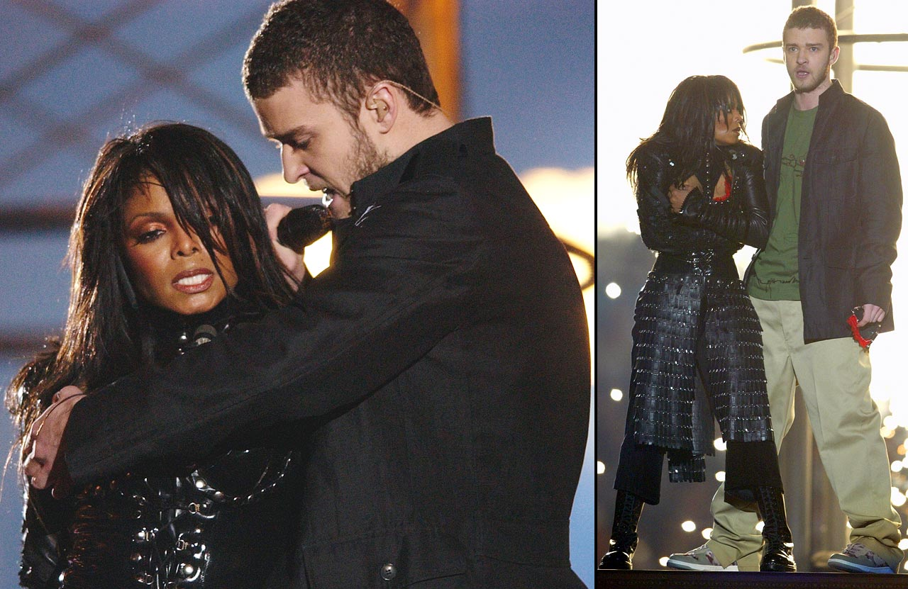 "Justin Timberlake pulls off the covering to Janet Jackson's breast, committing a ''wardrobe malfunction"" during their halftime performance at Super Bowl XXXVIII in Houston on Feb. 1, 2004."