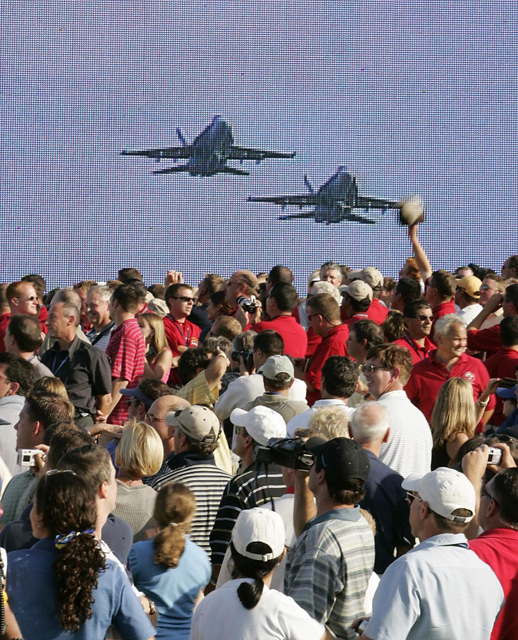 Jets flying over the opening ceremonies for the Ryder Cup in September 2004.