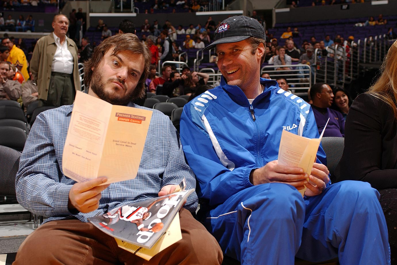 Jack Black and Will Ferrell attend the Los Angeles Lakers game against the Portland Trail Blazers on Feb. 17, 2004 at Staples Center in Los Angeles.