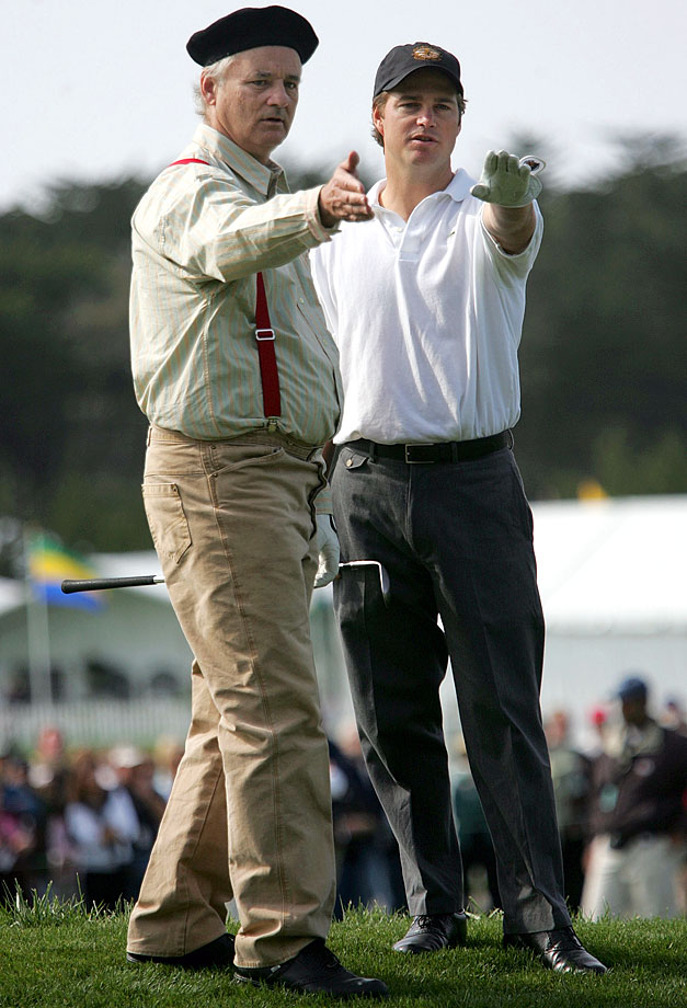 Bill Murray and Chris O'Donnell line up a shot during the 3M Celebrity Golf Challenge on Feb. 9, 2005 in Pebble Beach, Calif.