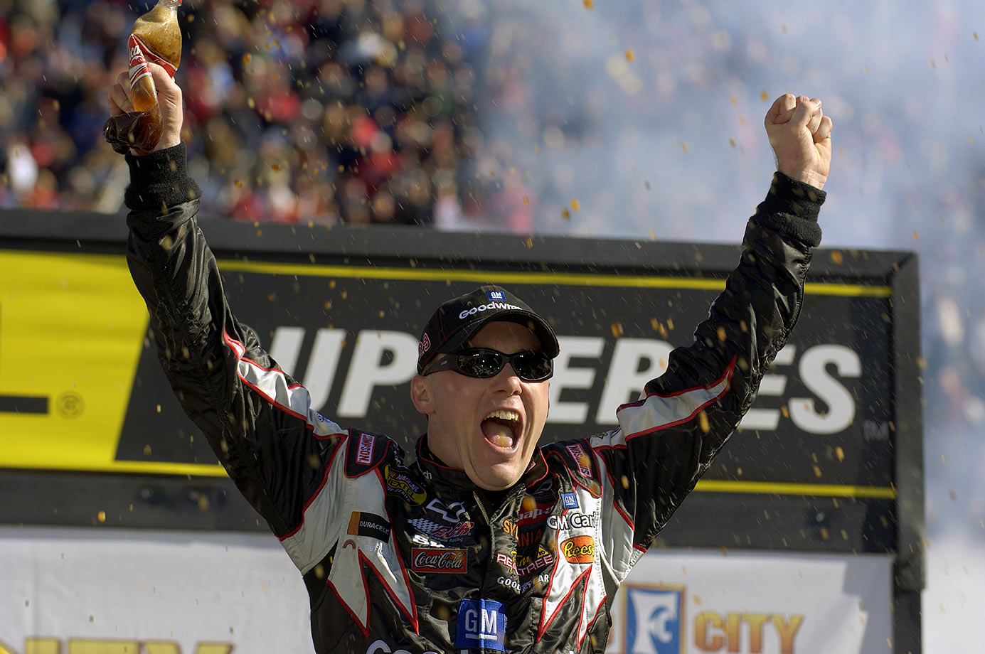 Kevin Harvick celebrates in Victory Lane after winning the Food City 500 race at Bristol Motor Speedway on April 3, 2005.