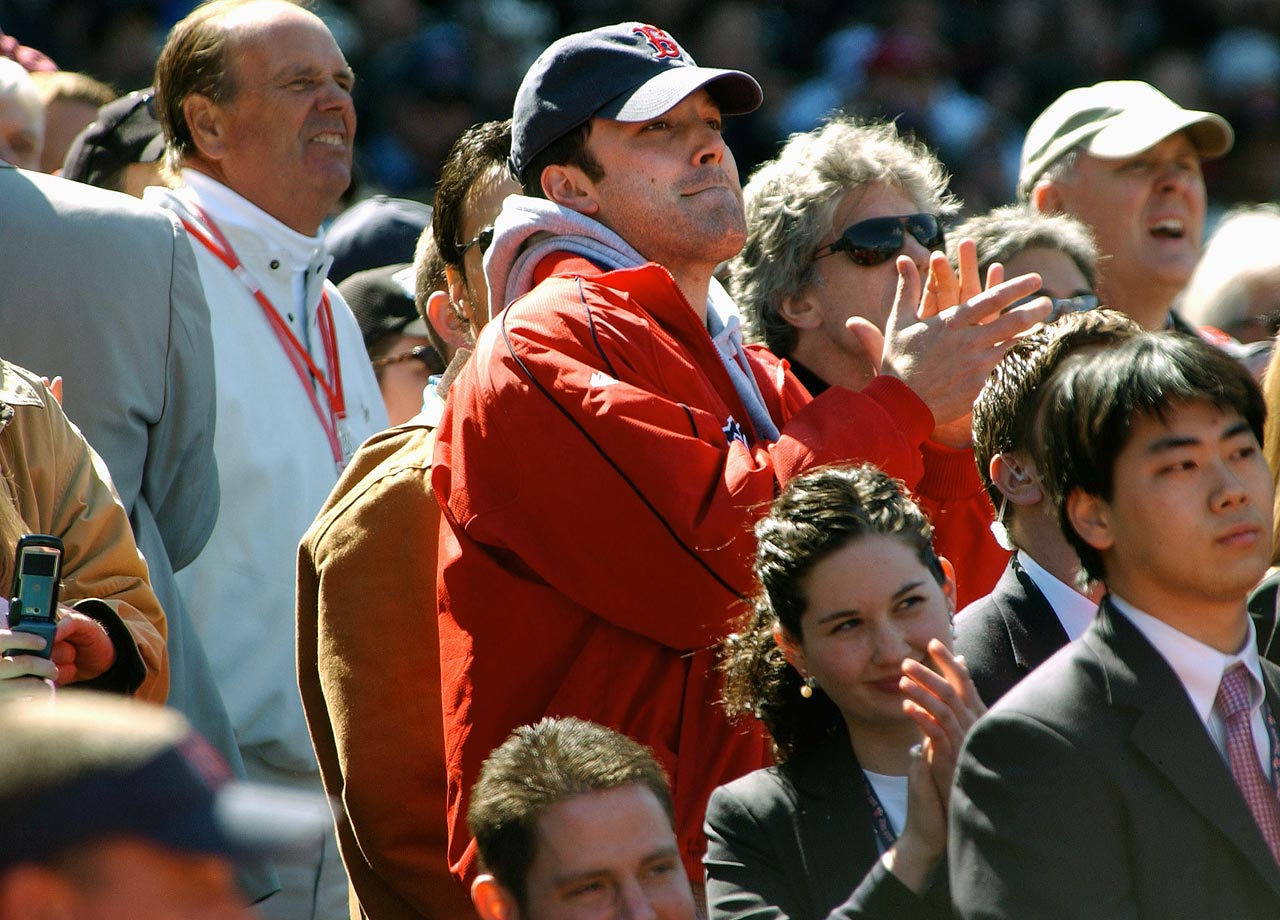 Ben Affleck applauds the Boston Red Sox during Opening Day against the New York Yankees on April 11, 2005 at Fenway Park in Boston.