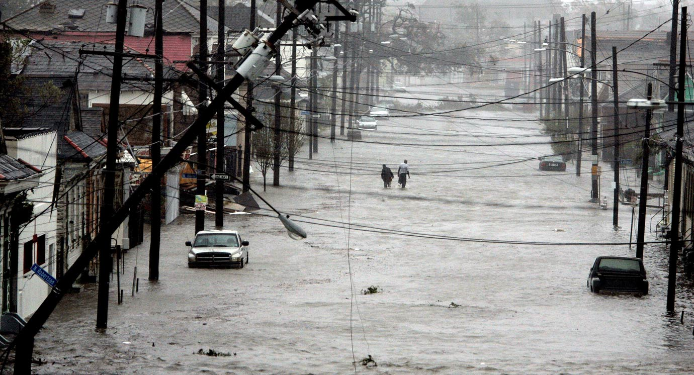 Aug. 29, 2005: In the early hours Category 4 Hurricane Katrina makes landfall. By 8 a.m. the storm eye's passes through New Orleans and the sense is that the city has avoided a catastrophe. But just two hours later, reports surface that levees in the Ninth Ward are overtopped. By late morning, a large section of the 17th Street Canal levee is breached and the city begins to flood.