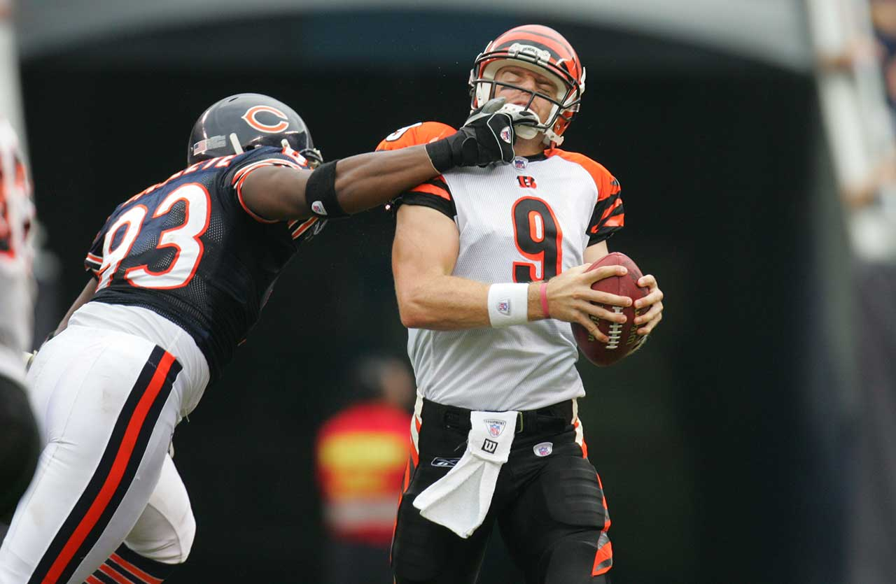 Palmer avoided the likes of Chicago's Adewale Ogunleye enough times in 2005 to lead the NFL in touchdown passes  with 32, outperforming Peyton Manning (28), Tom Brady (26) and Drew Brees (24).