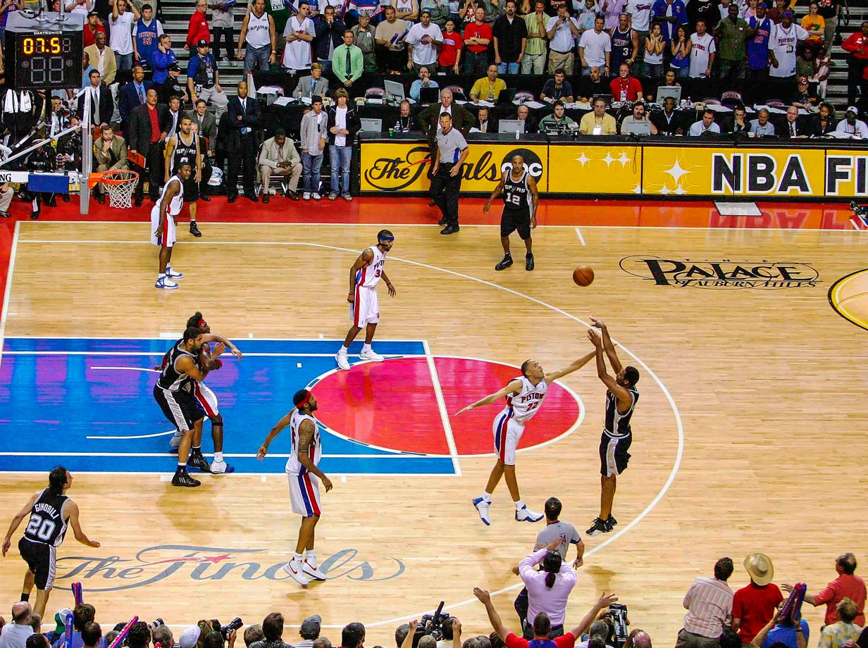 Robert Horry came off the bench to score all 21 of his points after halftime against the Pistons, including the game-winning three-pointer with 5.8 seconds left in overtime. The shot gave the Spurs a 3-2 series lead, and they won the title in seven.