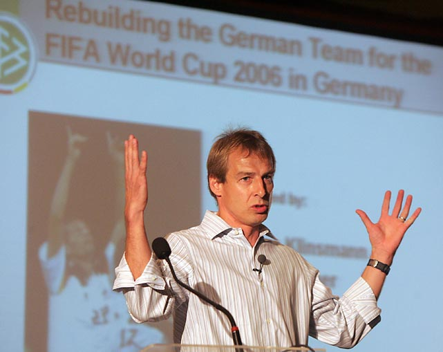 Klinsmann discusses his team-building plans for Germany at the second International Football Forum in Rio de Janeiro, in December 2005. His methods drew strongly from American training programs, as Klinsmann had lived in Southern California since 1998, and those methods initially garnered scrutiny from the greater soccer world.