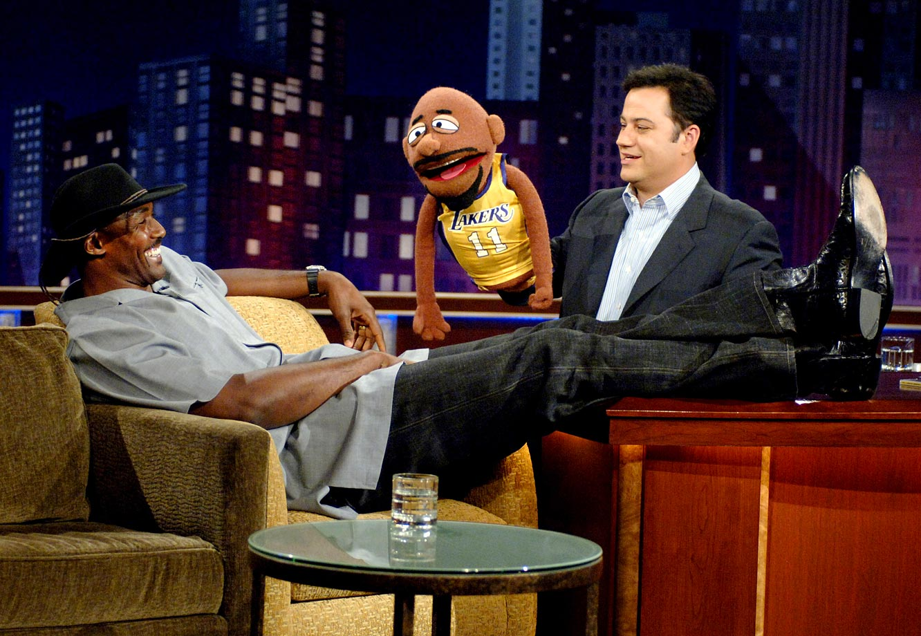"Karl Malone laughs at the puppet version of himself on ""Jimmy Kimmel Live""."