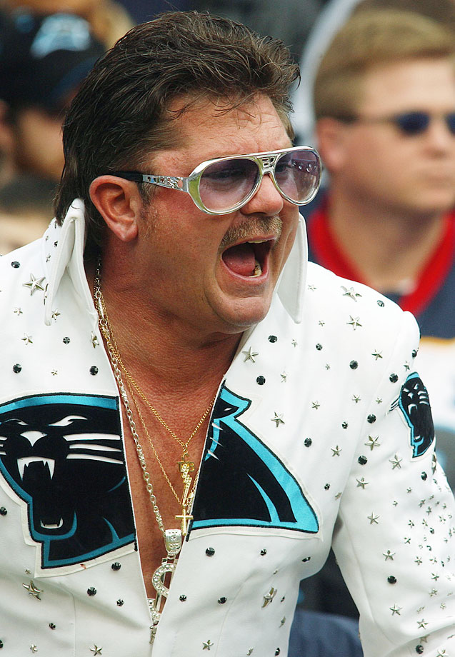 A Panthers and Elvis fan cheers during the Carolina Panthers game against the New Orleans Saints at Bank of America Stadium in Charlotte, N.C., on Jan. 2, 2005.