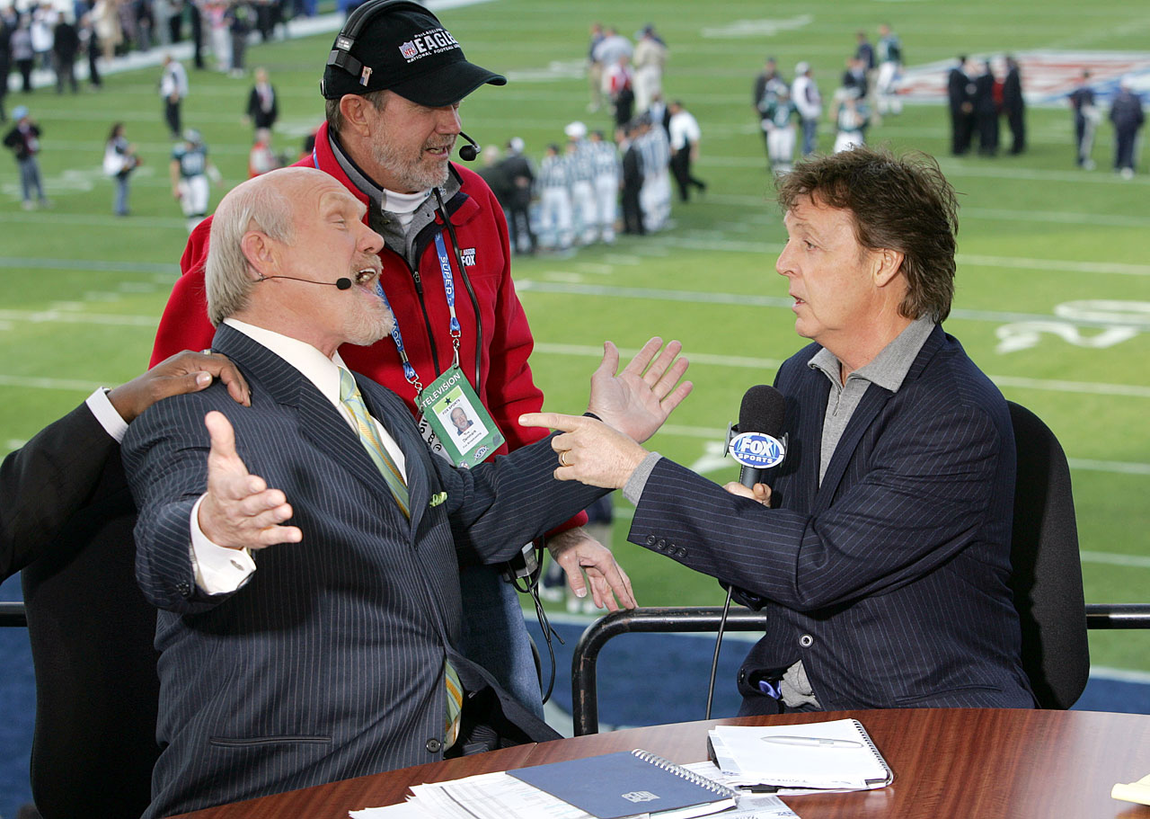 Terry Bradshaw jokes around with Paul McCartney during the Super Bowl XXXIX pregame show at Alltel Stadium in Jacksonville.