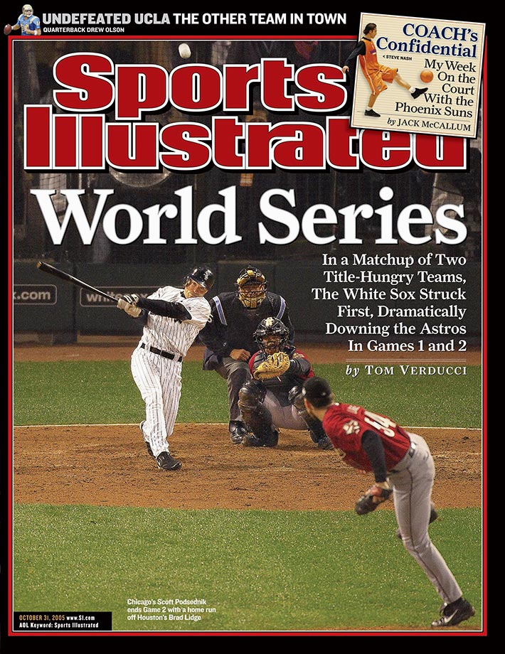 The White Sox' scrappy leadoff hitter, Scott Podsednik, hit zero home runs in 507 regular season at-bats in 2005, but he gave Chicago a 2-0 World Series edge with this shocking blast off Houston closer Brad Lidge in the bottom of the ninth at U.S. Cellular Field.
