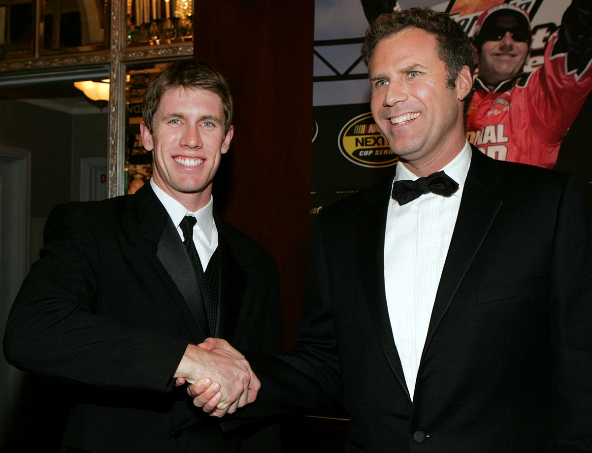 Carl Edwards and Will Ferrell pose together at The Yellow Carpet entry during the NASCAR Nextel Cup Awards Banquet on Dec. 2, 2005 at the Waldorf Astoria Hotel in New York City.
