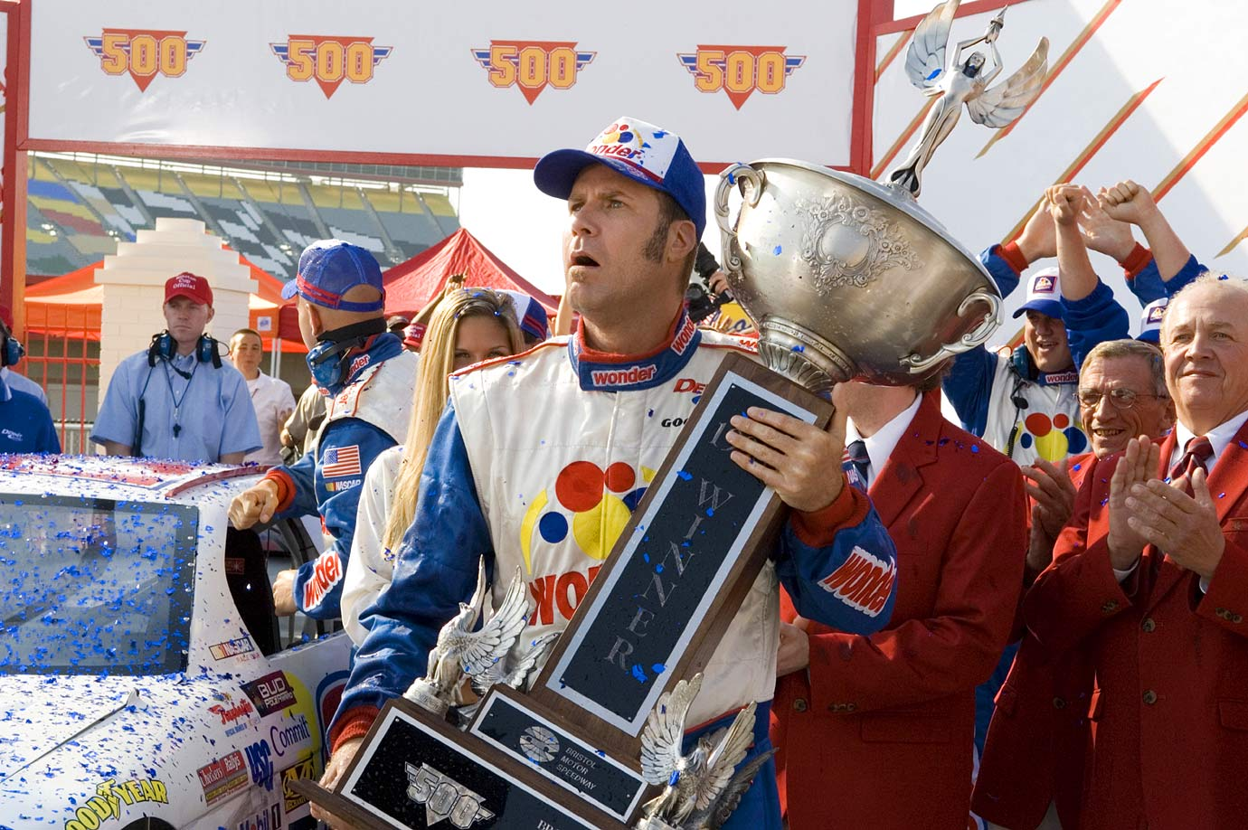 NASCAR driver Ricky Bobby, played by Will Ferrell, holds a trophy in a scene from ''Talladega Nights: The Ballad of Ricky Bobby'' filmed on Oct. 20, 2005.