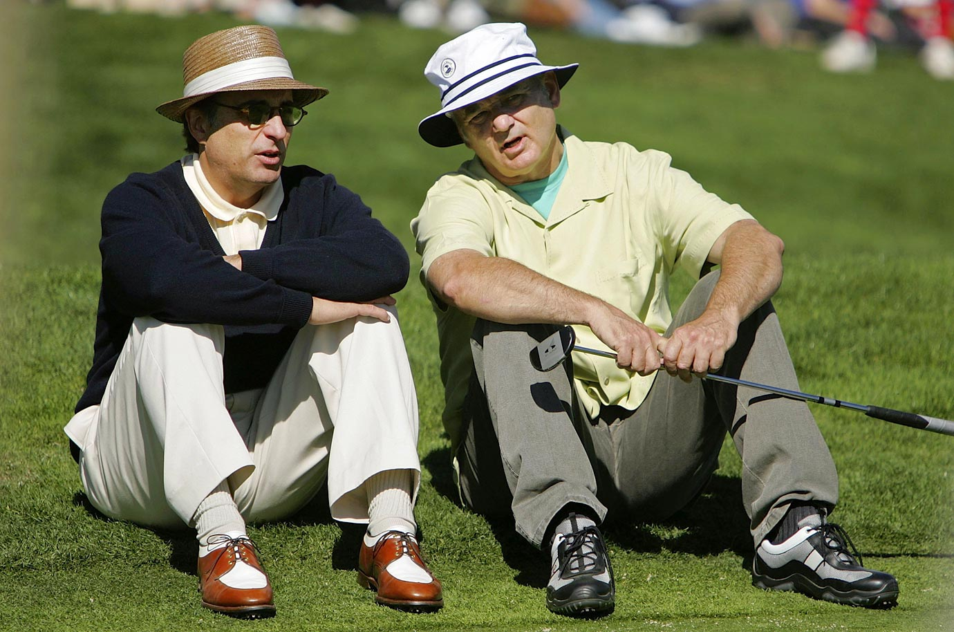 Bill Murray talks with Andy Garcia during the 3M Celebrity Golf Challenge on Feb. 8, 2006 in Pebble Beach, Calif.