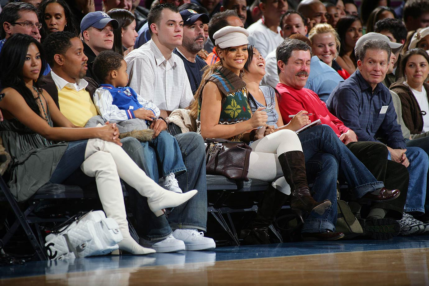Rihanna attends the New York Knicks game against the Miami Heat on March 19, 2006 at Madison Square Garden in New York City.