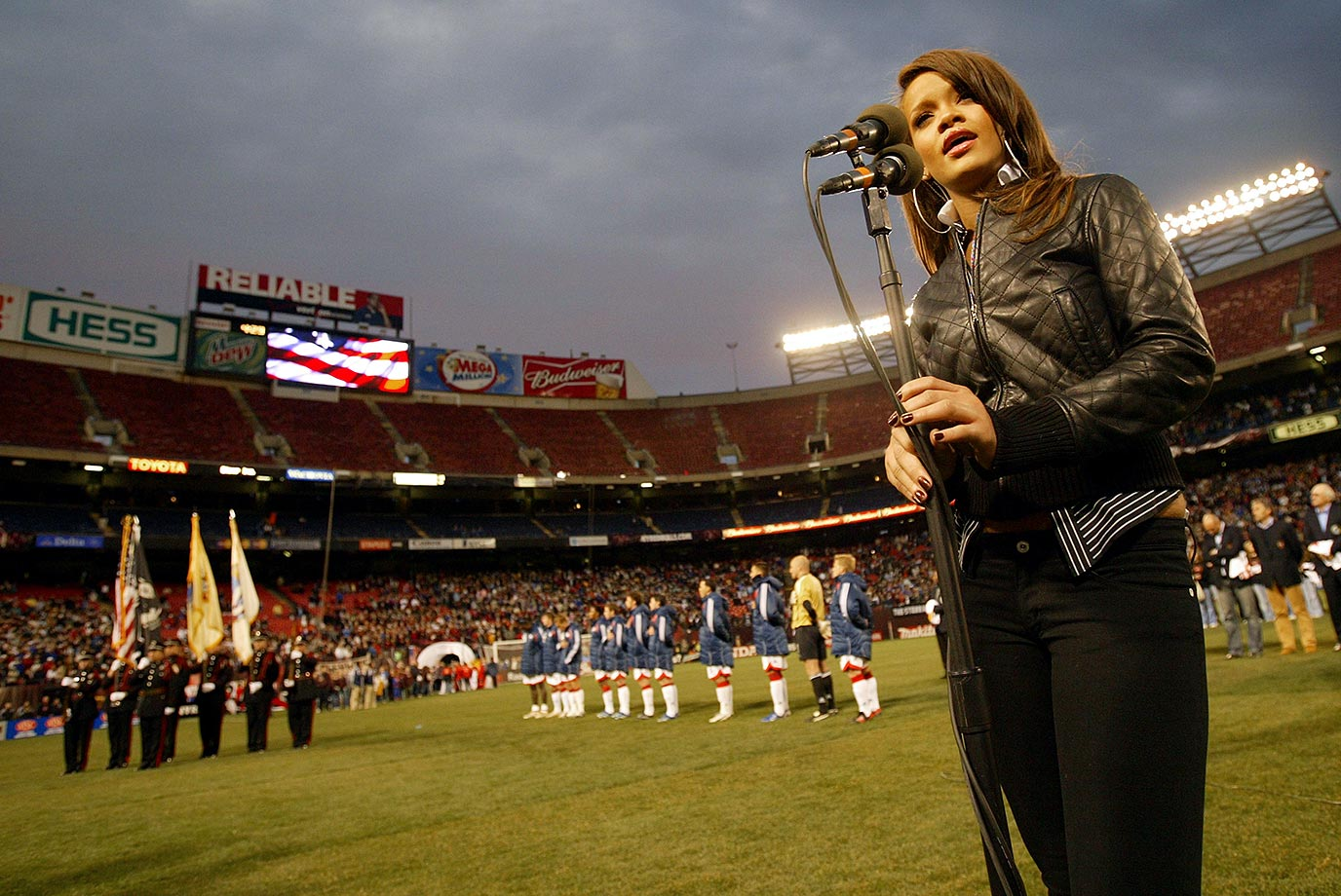 Rihanna sings the National Anthem before the New York Red Bulls game against the New England Revolution on April 8, 2006 at Giants Stadium in East Rutherford, N.J.