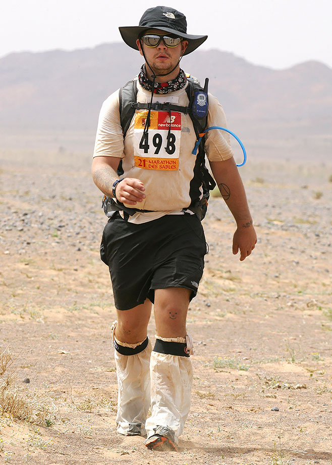 Marathon des Sables (Sand Marathon) on April 10, 2006 in the Sahara of southern Morocco.