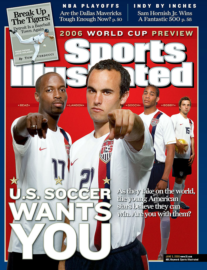 Landon Donovan, DaMarcus Beasley, Oguchi Onyewu and Bobby Convey on the cover of Sports Illustrated prior to the 2006 World Cup.