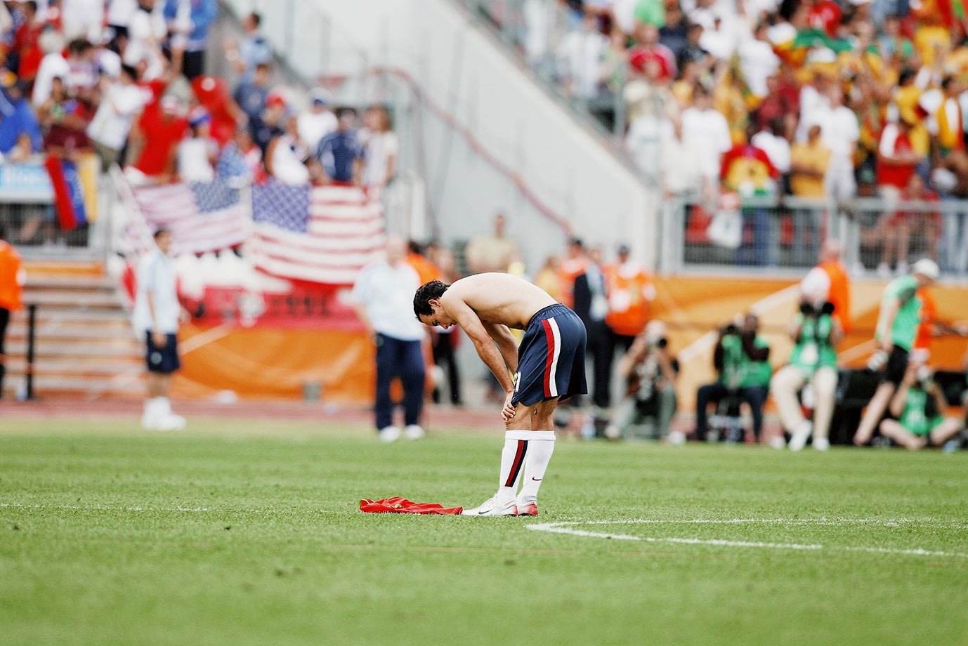 A disappointed Landon Donovan after the U.S. was eliminated from the 2006 World Cup after its third game.