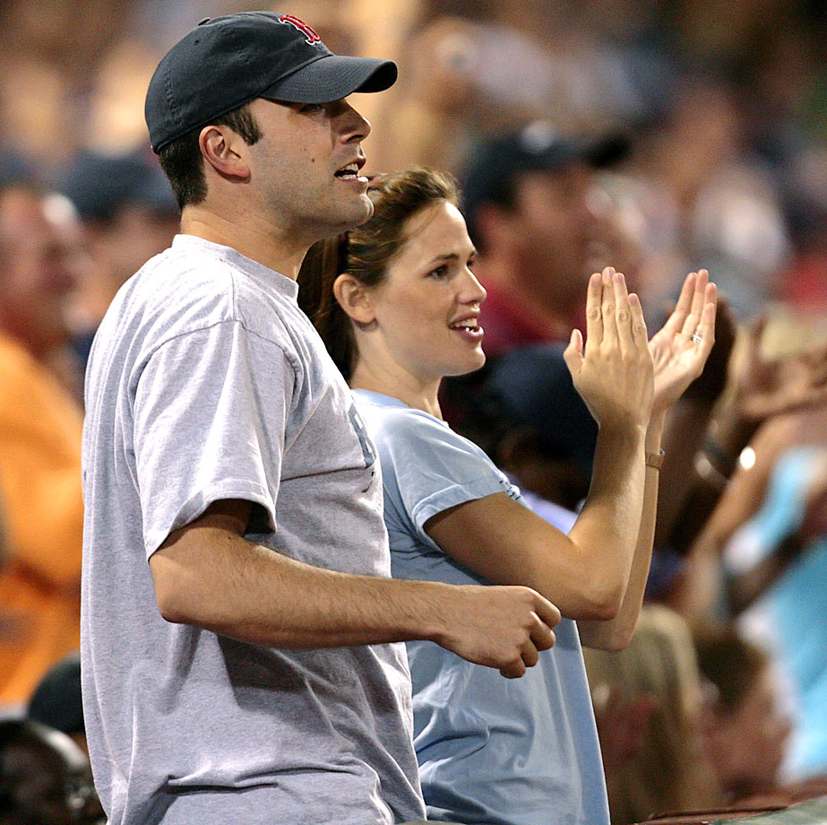 Ben Affeck and Jennifer Garner cheer for the Boston Red Sox during a game against the Los Angeles Angels on July 30, 2006 at Fenway Park in Boston.