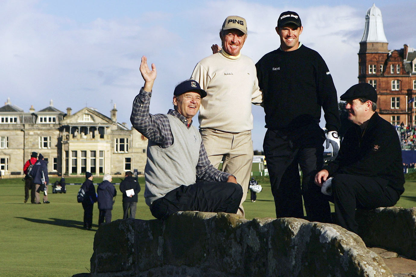 Bill Murray poses with Miguel Angel Jimenez, Padraig Harrington and JP McManus on the Swilkin Burn bridge during The Alfred Dunhill Links Championship at The Old Course on Oct. 6, 2006 in St. Andrews, Scotland.