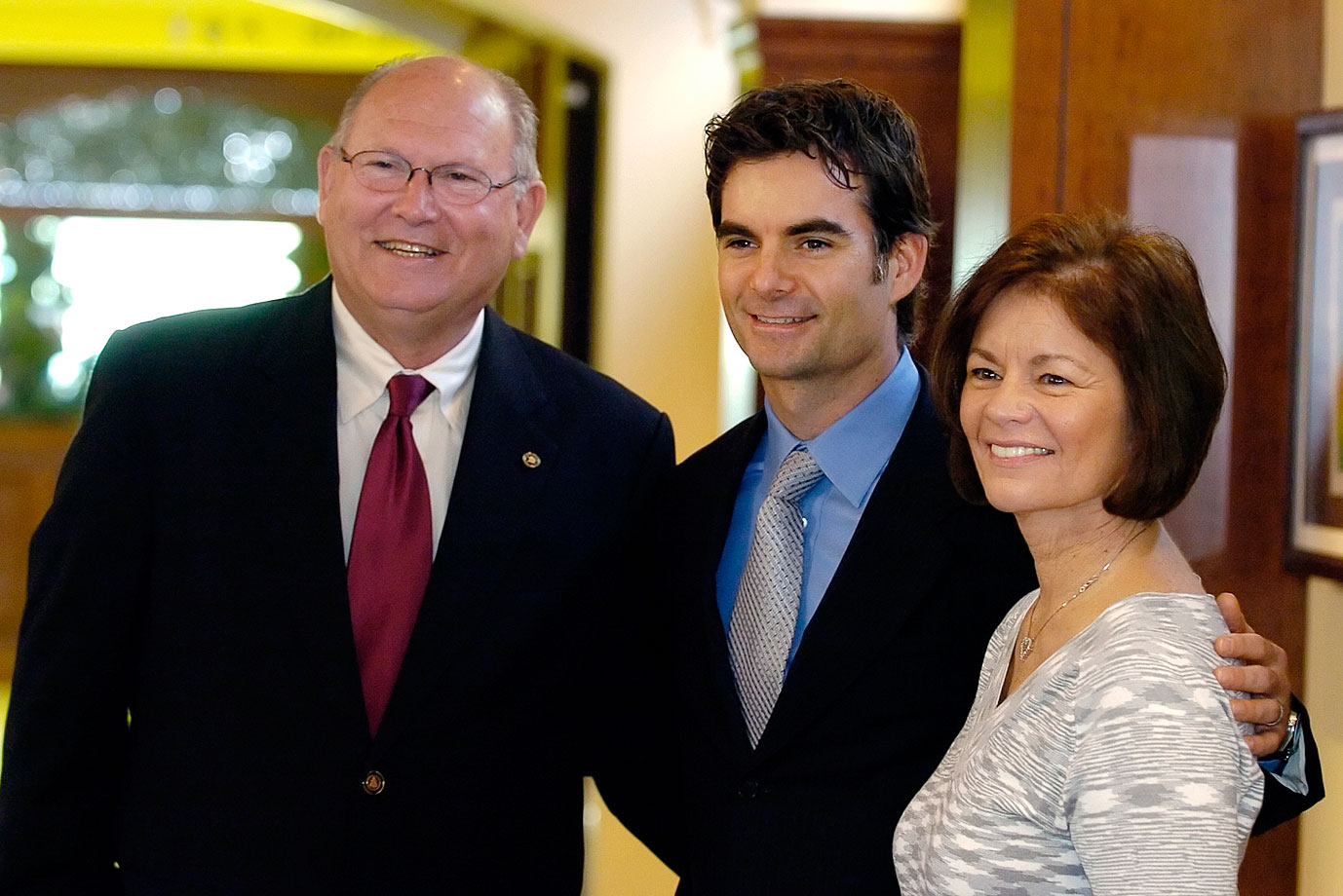 Jeff Gordon poses with his parents, John and Carol Bickford, during the grand opening ceremony for the Jeff Gordon Children's Hospital in Concord, N.C.