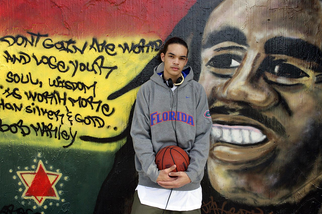 Florida Gators center Joakim Noah poses in front of a Bob Marley mural in Gainesville, Fla., on Jan. 12, 2006.