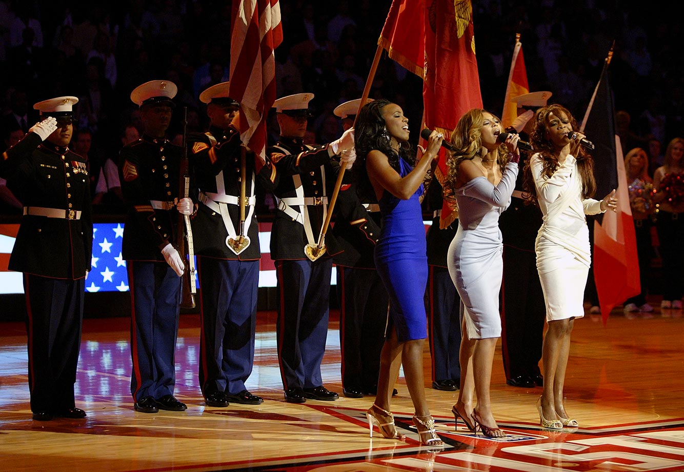 Destiny's Child reunited for an official farewell performance to sing the national anthem preceding the 2006 NBA All-Star Game at the Toyota Center in their native Houston. Nearly seven years later, however, the group would reunite at Super Bowl 49.