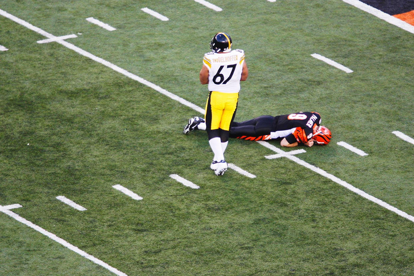 With Palmer down, the Bengals lost the playoff game 31-17 and the Steelers went on to win the Super Bowl. The NFL instituted the Carson Palmer rule the following season, penalizing defenders for hitting a passer at or below the knee unless they were blocked into him.