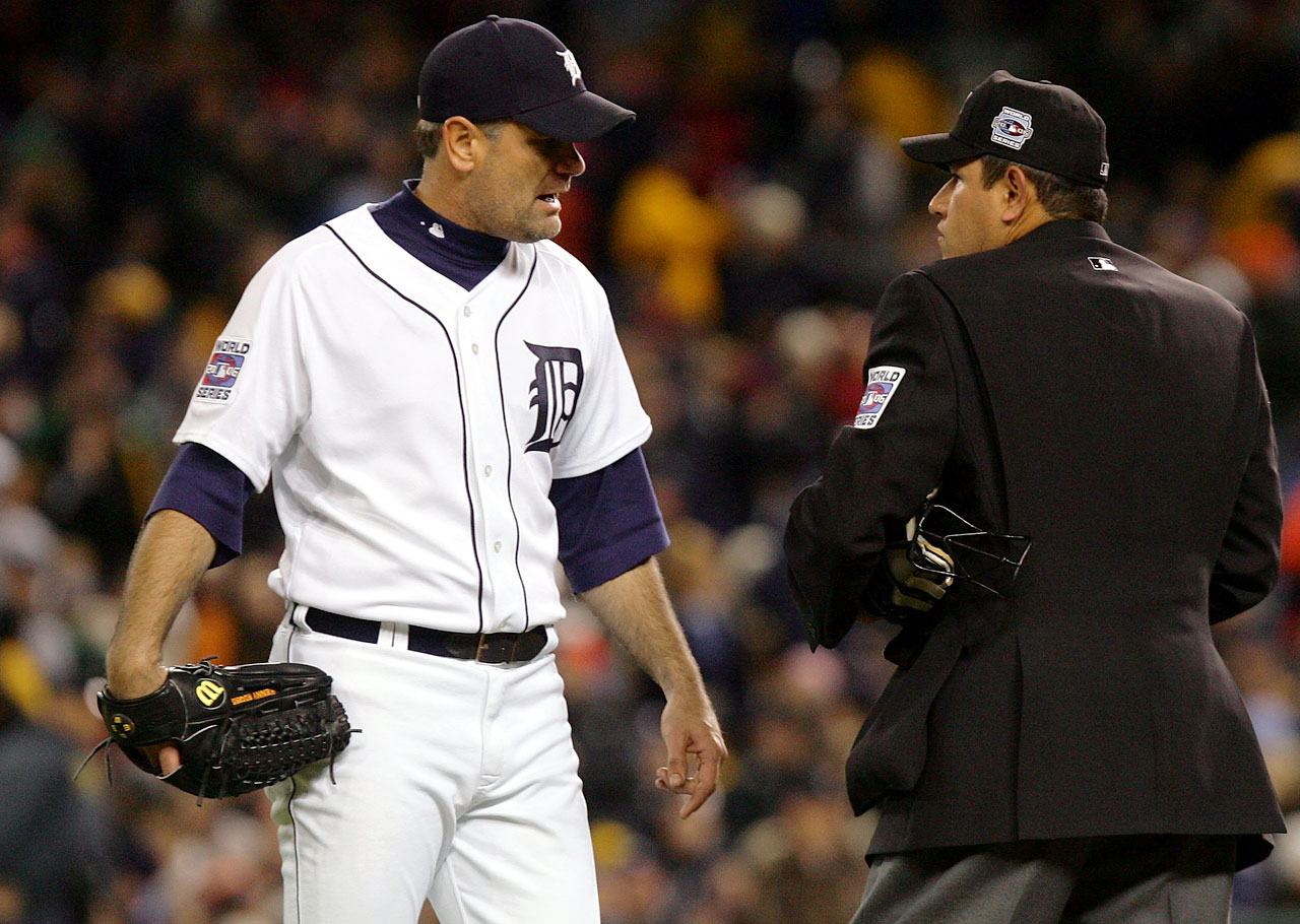 In Game 2 of the World Series, the umps asked wily veteran Kenny Rogers of the Tigers to clean off his hand after spotting a brown substance on his left thumb. Rogers said the mark was a mixture of mud, resin, spit and dirt, and when he came out for the next inning, his hand was clean. He went on to pitch shutout baseball in a Tigers victory.
