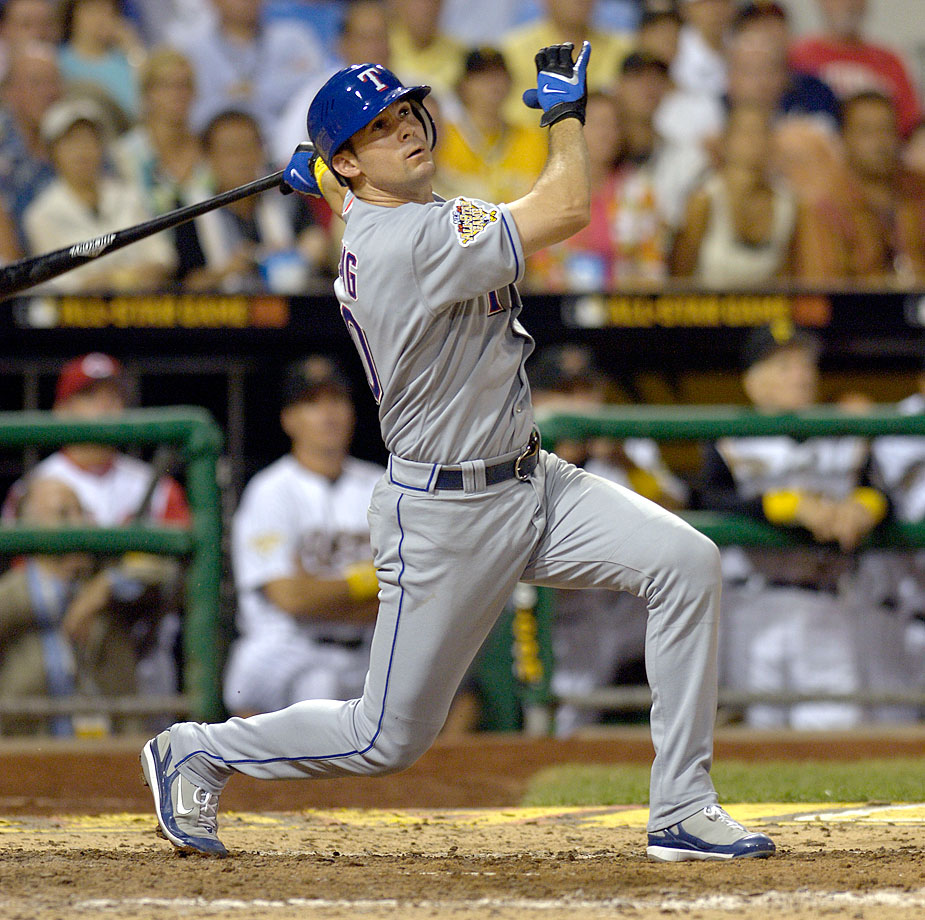 MVP Michael Young drove in the game-winning runs with a two-out triple in the ninth inning against NL closer Trevor Hoffman.