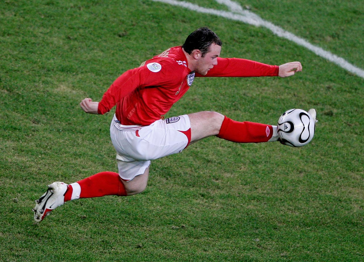 Wayne Rooney controls the ball during a Group B match between England and Sweden in the 2006 World Cup.
