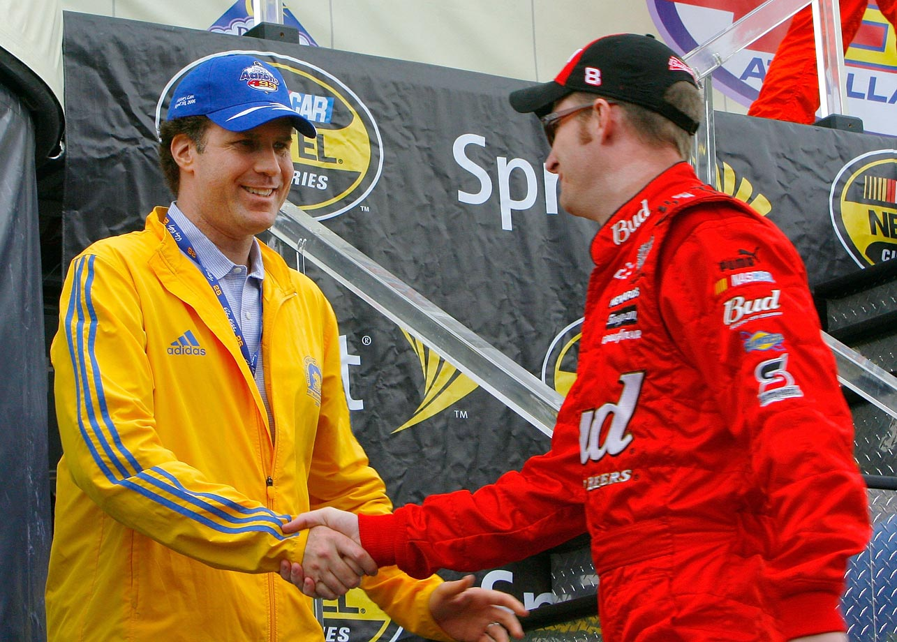 Will Ferrell and Dale Earnhardt Jr. shake hands before the start of the NASCAR Nextel Cup Series Aaron's 499 on April 30, 2006 at the Talladega Superspeedway in Talladega, Ala.