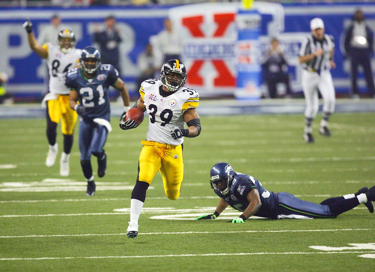 Willie Parker set a Super Bowl record with his 75-yard scoring run, which gave Pittsburgh a 14-3 lead.