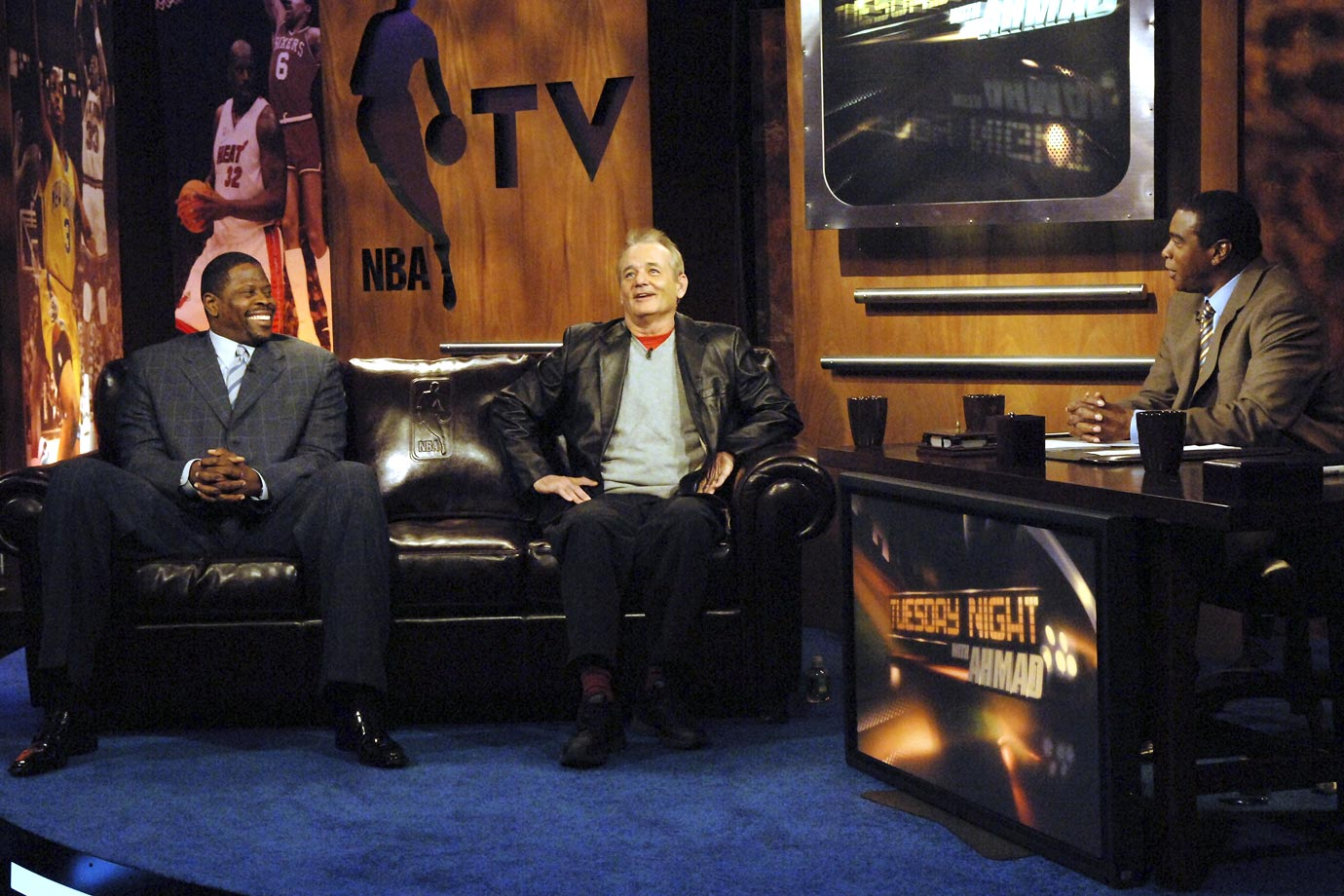 "Patrick Ewing and Bill Murray join Ahmad Rashad on the set of NBA TV's ""Tuesday Night with Ahmad"" on Jan. 2, 2007 in Secaucus, N.J."