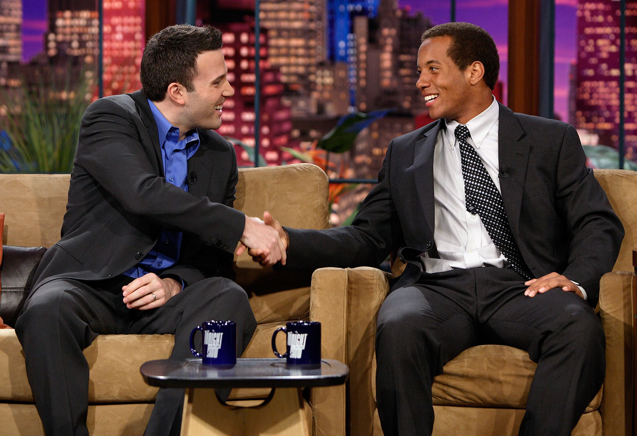 "Ben Affleck greets Florida quarterback Chris Leak during an interview on ""The Tonight Show with Jay Leno"" on Jan. 9, 2007 at NBC Studios in Burbank Calif."
