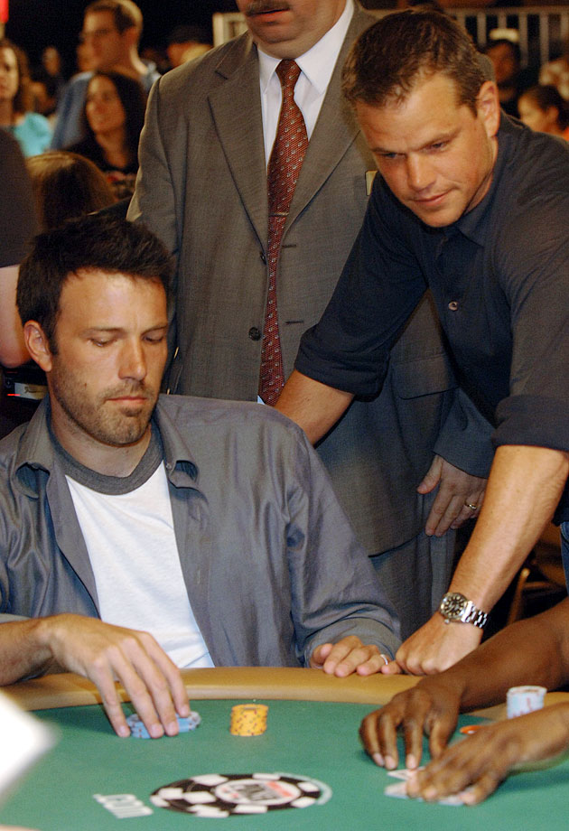 Ben Affleck and Matt Damon compete in the Ante up for Africa poker tournament during the World Series of Poker on July 5, 2007 at the RIO Hotel & Casino in Las Vegas.
