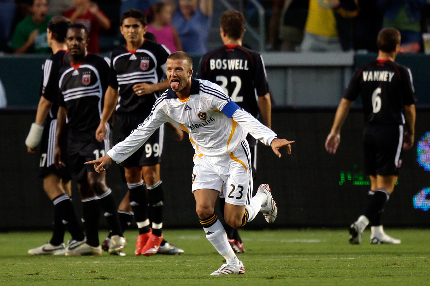 On Aug. 15, 2007, a week after his MLS debut, Beckham and the Galaxy faced off against D.C. United in the SuperLiga semifinals. It was a game of firsts for Beckham: first start, first game as captain and first yellow card. He also recorded his first goal (off a free kick, of course) and assist. His efforts gave the Galaxy a 2-0 victory, earning them a birth in the final against Pachuca of Mexico.