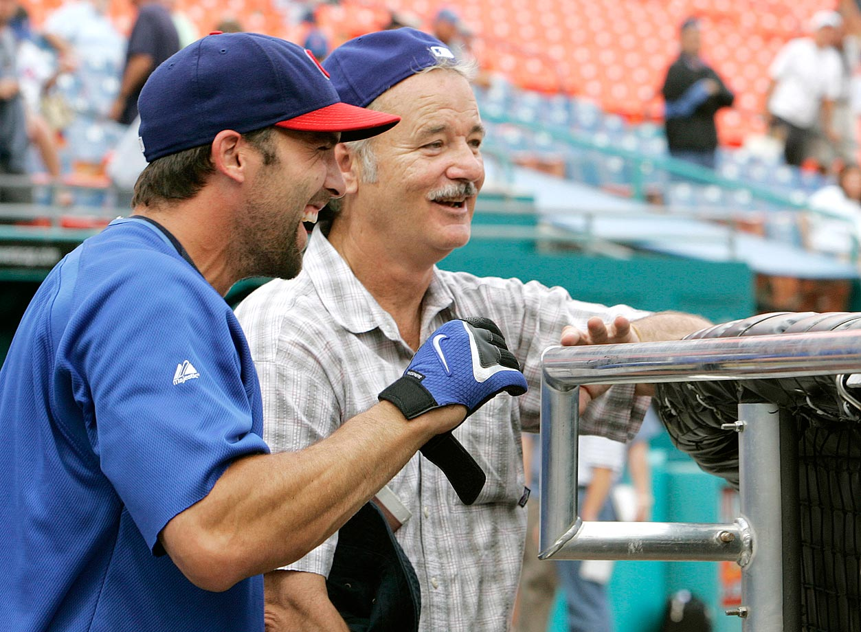 Chicago Cubs second baseman Mark DeRosa shares a laugh with Bill Murray during batting practice before the Cubs game against the Florida Marlins on Sept. 27. 2007 at Dolphin Stadium in Miami.