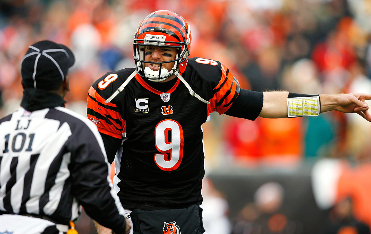 Palmer argues with an official during a game against Cleveland in December 2007. Cincinnati went 7-9 that season with Palmer becoming the fifth fastest NFL quarterback to reach 100 touchdown passes.