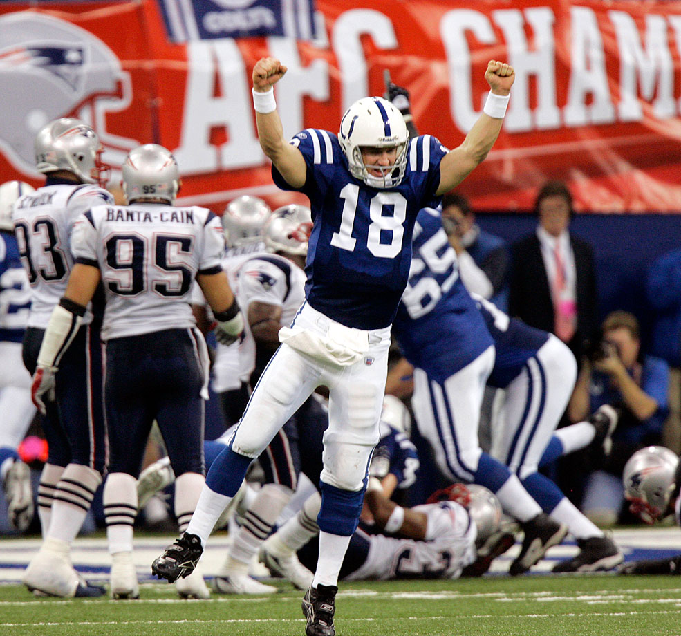 Peyton Manning and the Colts finally got the monkey off their backs in 2007, miraculously coming back from a 21-3 first half deficit to defeat longtime nemesis Tom Brady and the Patriots 38-34. Running back Joseph Addai capped the comeback, scoring with one minute left to give the Colts their first lead of the game.