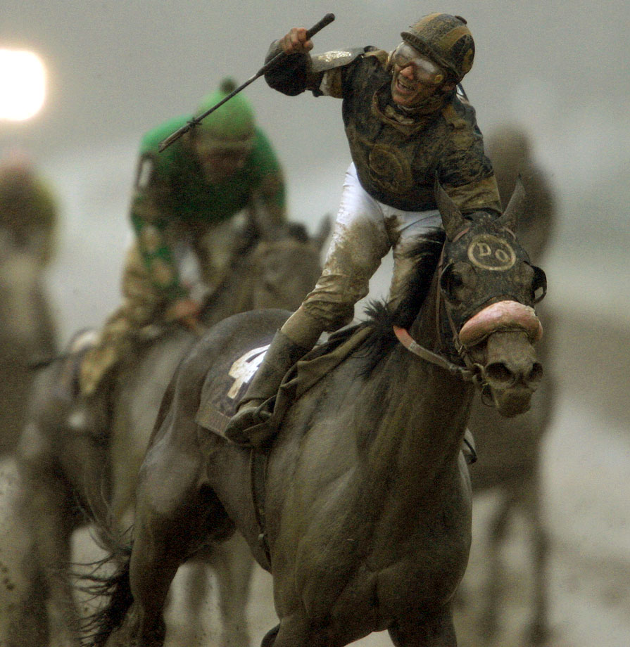 Jockey Elvis Trujillo rides MaryField across the finish line to win the Breeders' Cup Filly & Mare Sprint during the 2007 Breeders' Cup World Championships at Monmouth Park, N.J. on Oct. 26, 2007.
