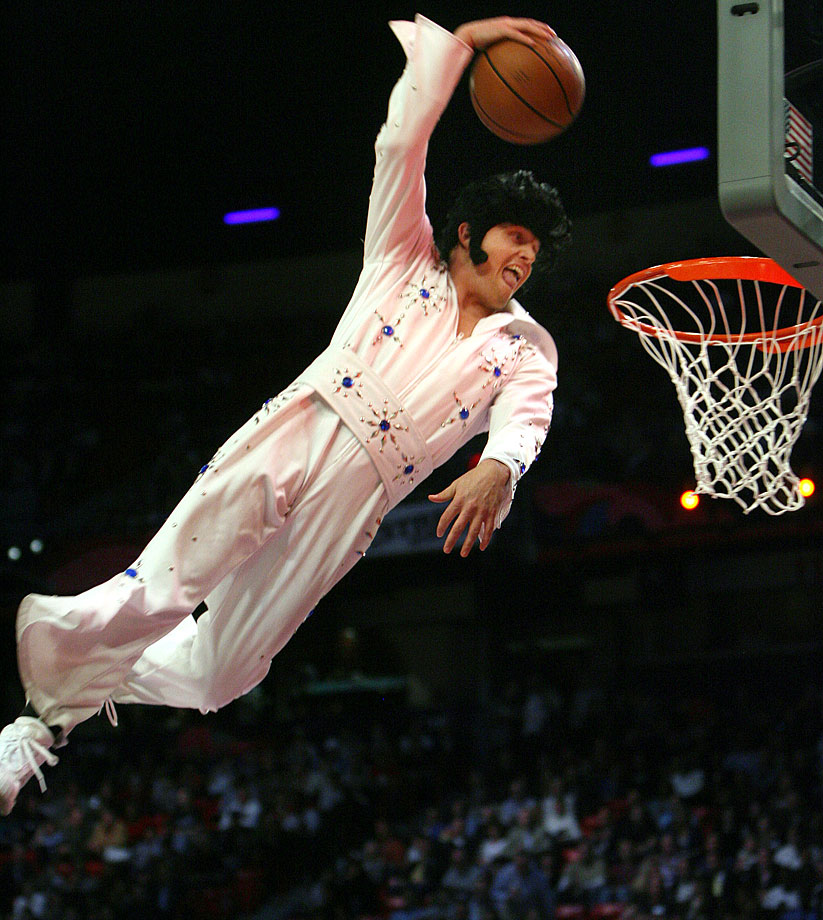 An Elvis Presley look-alike dunks to get the crowd pumped up for the 2007 NBA All-Star Slam Dunk Contest in Las Vegas.