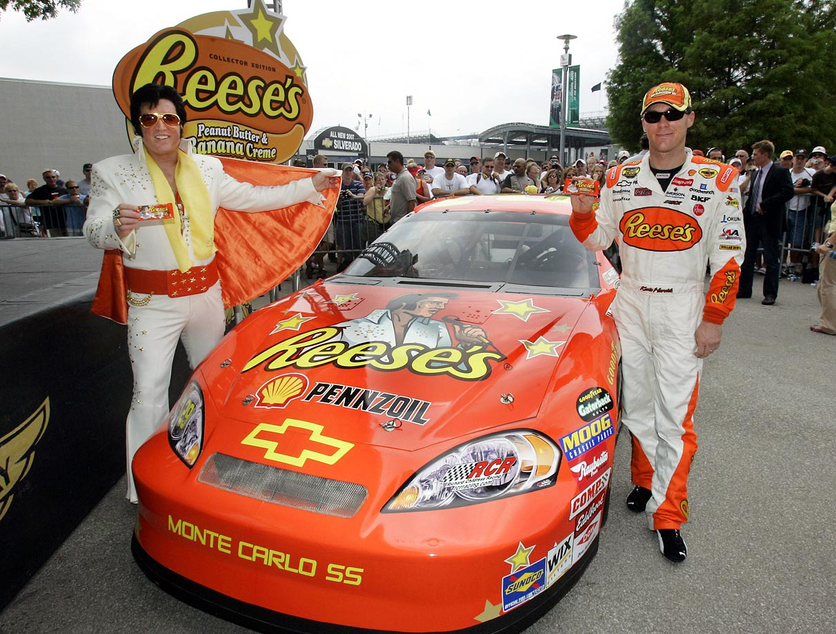 Kevin Harvick and Elvis tribute artist Doug Church pose with the No. 29 Reese's car paying tribute to the life and legacy of Elvis Presley at the Indianapolis Motor Speedway on July 28, 2007.