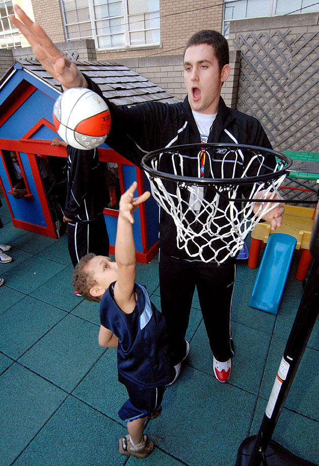 The 2007 McDonald's All-American National High School Player of the Year shot hoops with Quentin Harris during a visit to a Ronald McDonald House in Louisville, Ky.