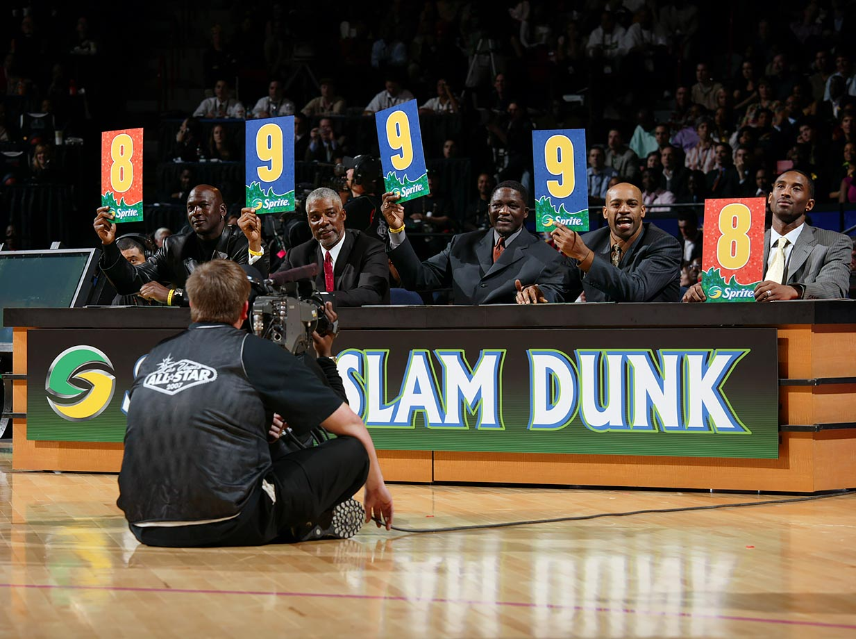Dr. J joined Michael Jordan, Dominique Wilkens, Vince Carter and Kobe Bryant as judges during the slam dunk contest during the 2007 All-Star Weekend.
