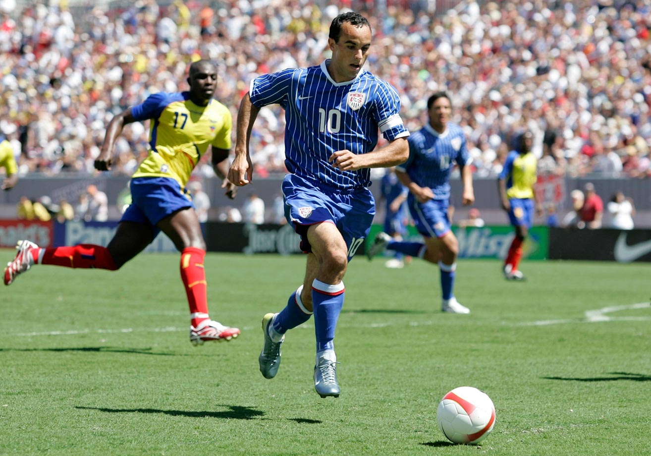 Landon Donovan attacks the Ecuador goal during the first half of an international friendly in Tampa, Fla. The U.S. won 3-1.