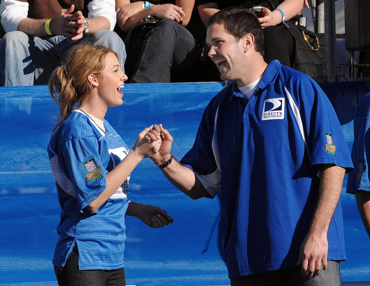 Blake Lively and Matt Leinart celebrate during the 2nd Annual DirecTV Celebrity Beach Bowl on Jan. 31, 2008 in Scottsdale, Ariz.