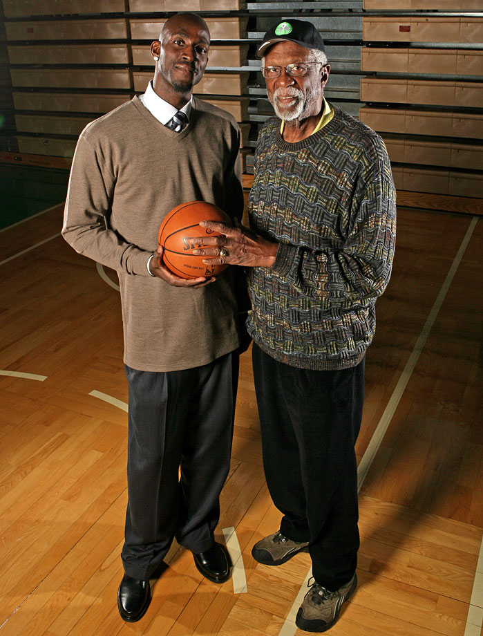Kevin Garnett poses with Celtics legend Bill Russell.